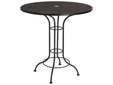 Woodard Aurora Wrought Iron 42'' Wide Round Mesh Top Bar Height Table with Umbrella Hole WR190057