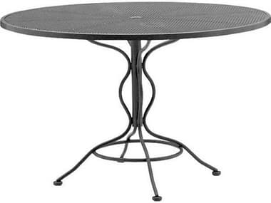 Woodard Wrought Iron Mesh 48'' Wide Round Dining Table with Umbrella Hole WR190137