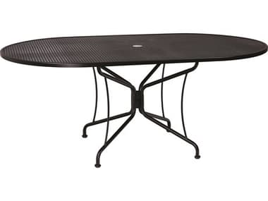 Woodard Wrought Iron Mesh 72''W x 42''D Oval 8 Spoke Dining Table with Umbrella Hole WR190306