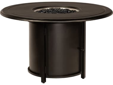 Woodard Universal Aluminum Square Dining Height Fire Table Base with Round Burner WR1CM1SQRB