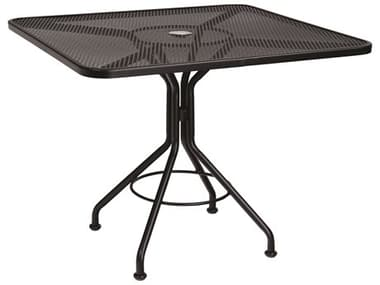 Woodard Wrought Iron Mesh 36'' Wide Square Bistro Table with Umbrella Hole WR280029
