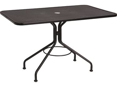 Woodard Wrought Iron Mesh 48''W x 30''D Rectangular Dining Table with Umbrella Hole WR280030