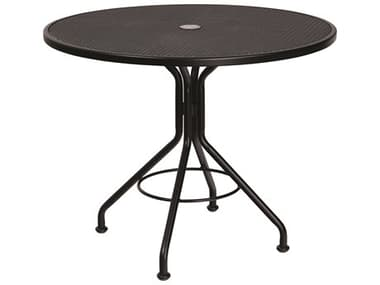 Woodard Wrought Iron Mesh 36'' Wide Round Bistro Table with Umbrella Hole WR280135