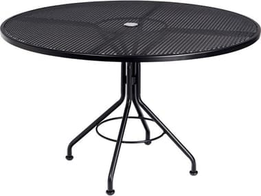 Woodard Wrought Iron Mesh 48'' Wide Round Dining Table with Umbrella Hole WR280137