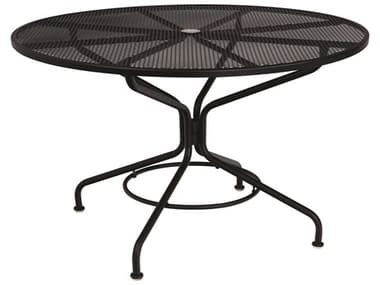 Woodard Mesh Wrought Iron Textured Black 48'' Wide Round Table with Umbrella Hole WR280137N.92