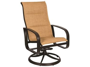 Woodard Cayman Isle Padded Sling Aluminum High Back Swivel Rocker Lounge Chair WR2FX588