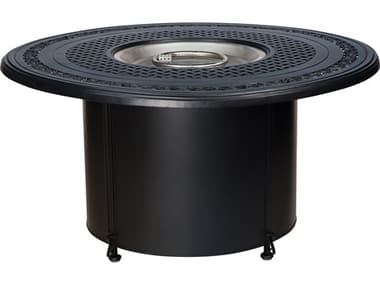 Woodard Universal Iron Chat Height Round Fire Table Base with Square Burner WR2TM338