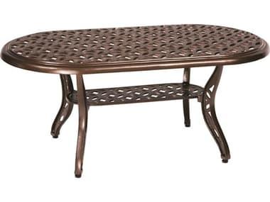 Woodard Casa Cast Aluminum 44''W x 24''D Oval Coffee Table WR3Y45BT