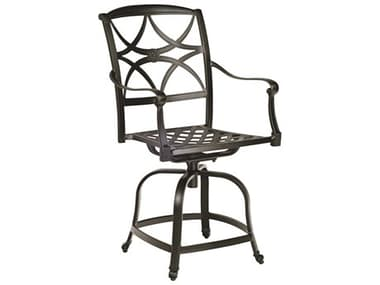 Woodard Wiltshire Cast Aluminum Swivel Counter Stool with Cushion WR4Q0469ST