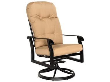 Woodard Cortland Cushion Aluminum High Back Swivel Rocker Dining Arm Chair WR4ZM488