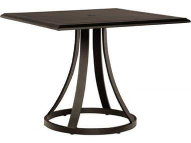 Woodard Solid Cast Tables 36'' Wide Aluminum Square Umbrella Hole Bistro Table WR5Y480009236