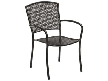 Woodard Albion Wrought Iron Textured Black Stackable Dining Arm Chair WR7R0021.92