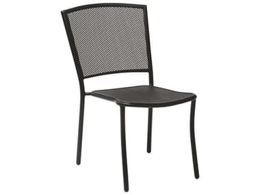 Woodard Albion Wrought Iron Textured Black Stackable Dining Arm Chair WR7R0022.92