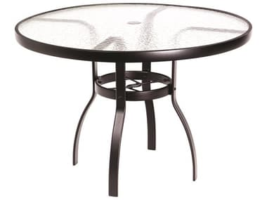 Woodard Aluminum Deluxe 42'' Wide Round Acrylic Top Dining Table with Umbrella Hole WR822142W