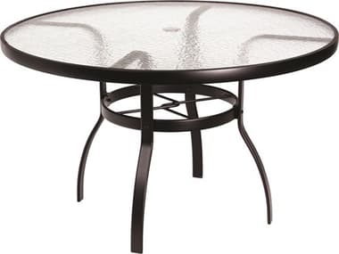 Woodard Aluminum Deluxe 48'' Wide Round Acrylic Top Dining Table with Umbrella Hole WR822148W