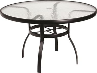 Woodard Aluminum Deluxe 48'' Wide Round Obscure Glass Top Table with Umbrella Hole WR826148W