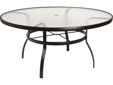 Woodard Aluminum Deluxe 60'' Wide Round Obscure Glass Top Table with Umbrella Hole WR826360W