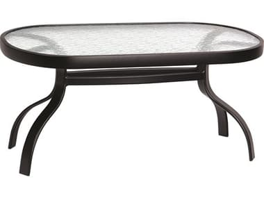 Woodard Aluminum Deluxe 37''W x 19''D Rectangular Obscure Glass Top Coffee Table WR826452W