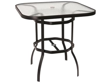 Woodard Aluminum Deluxe 42'' Wide Square Obscure Glass Top Bar Height Table with Umbrella Hole WR826538W