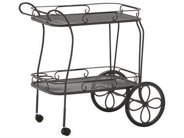 Woodard Wrought Iron Mesh Top Tea Serving Cart with Removable Serving Tray WR880080