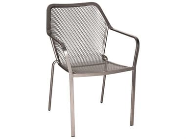 Woodard Delmar Wrought Iron Dining Arm Chair with Cushion WR8C0017ST