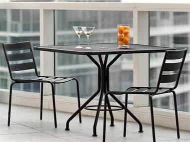 Woodard Cafe Series Wrought Iron Textured Black Dining Set WRTDBDS