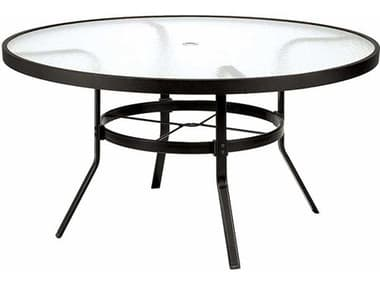 Winston Obscure Glass Aluminum 48'' Round Dining Table with Umbrella Hole WSM8148RGU
