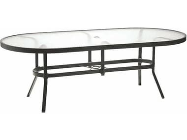 Winston Obscure Glass Aluminum 76'' x 42'' Oval Dining Table with Umbrella Hole WSM8176RGU