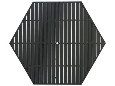 Winston Alternative Slat Extruded Aluminum 64 Hexagon Top with Umbrella Hole WSMESLH64