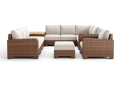 Winston Quick Ship Nico Sectional Wicker Antique Chestnut 10 Piece Lounge Set WSNIC10PC