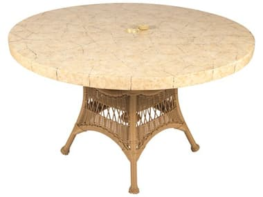 Woodard Whitecraft Sommerwind Wicker 48 Round Stone Top Dining Table with Umbrella Hole WTS596604