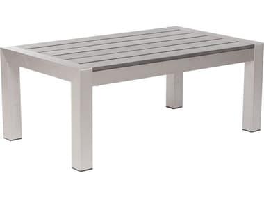 Zuo Outdoor Cosmopolitan Aluminum 39.4 x 23.6 Rectangular Resin Slated Top Coffee Table ZD701860