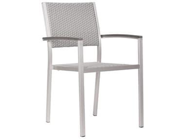Zuo Outdoor Metropolitan Aluminum Polyethylene Faux Wood Arm Chair Set of Two ZD701865