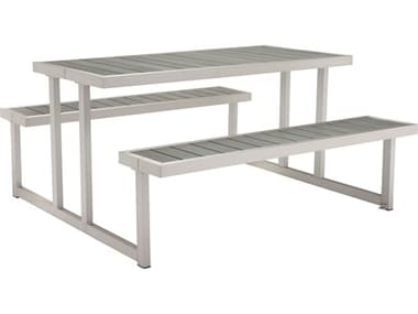 Zuo Outdoor Cuomo Aluminum Faux Wood 62.60 x 59 Rectangular Picnic Table ZD703784