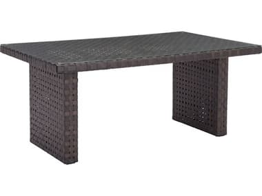 Zuo Outdoor Pinery Aluminum Wicker 67.30 x 39.40 Rectangular Glass Top Dining Table in Brown ZD703789