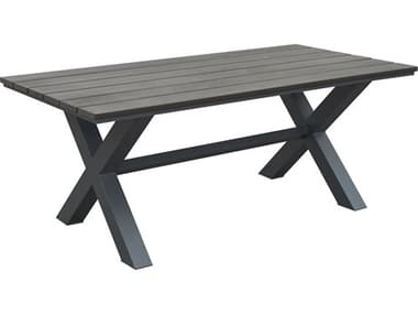 Zuo Outdoor Bodega Aluminum Resin 73 x 37 Rectangular Dining Table Industrial in Gray & Brown ZD703817
