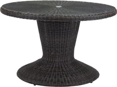 Zuo Outdoor Noe Aluminum Wicker 48 Round Glass Top Dining Table in Brown ZD703831