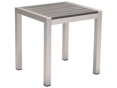Zuo Outdoor Cosmopolitan Aluminum 20 x 18 Rectangular Faux Wood Top Side Table ZD703838