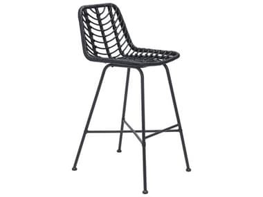 Zuo Outdoor Malaga Steel Wicker Black Bar Chair ZD703950