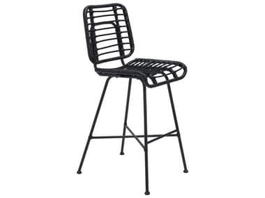 Zuo Outdoor Murcia Steel Wicker Black Bar Chair ZD703952