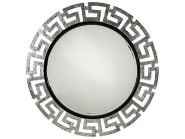 Aico Furniture Michael Amini After Eight Titanium / Black Onyx 47'' Wide Round Wall Mirror AIC1926088