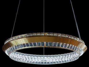 AICO Furniture Base Camp Chrome / Gold 31'' Wide Glass LED Pendant AICLTCH816