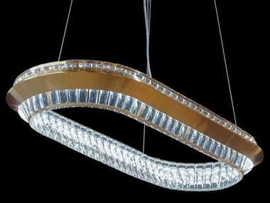AICO Furniture Base Camp Chrome / Gold 39'' Wide Glass LED Pendant AICLTCH817