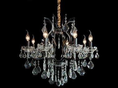 AICO Furniture Beauport Black 8-light 28'' Wide Crystal Medium Chandelier AICLTCH9558BLK