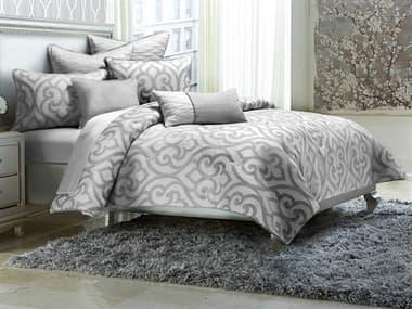 AICO Furniture Canterbury Silver Seven-Piece Queen Comforter Set AICBCSQS07CNTBYSLV