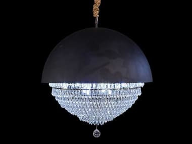 AICO Furniture Eclipse Black 18-light 23'' Wide Crystal LED Pendant AICLTCH95018BLK
