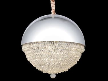 AICO Furniture Eclipse White 12-light 19'' Wide Crystal LED Pendant AICLTCH98412CLR