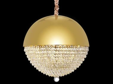 AICO Furniture Eclipse Gold 12-light 19'' Wide Crystal LED Pendant AICLTCH98512CLR