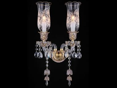 AICO Furniture Garnier Clear / Bright Gold 2-light Crystal Glass Wall Sconce AICLTWL0052CLR