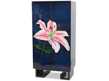 AICO Furniture Illusions Black / Blue Wine Cabinet AICFSILUSN013C